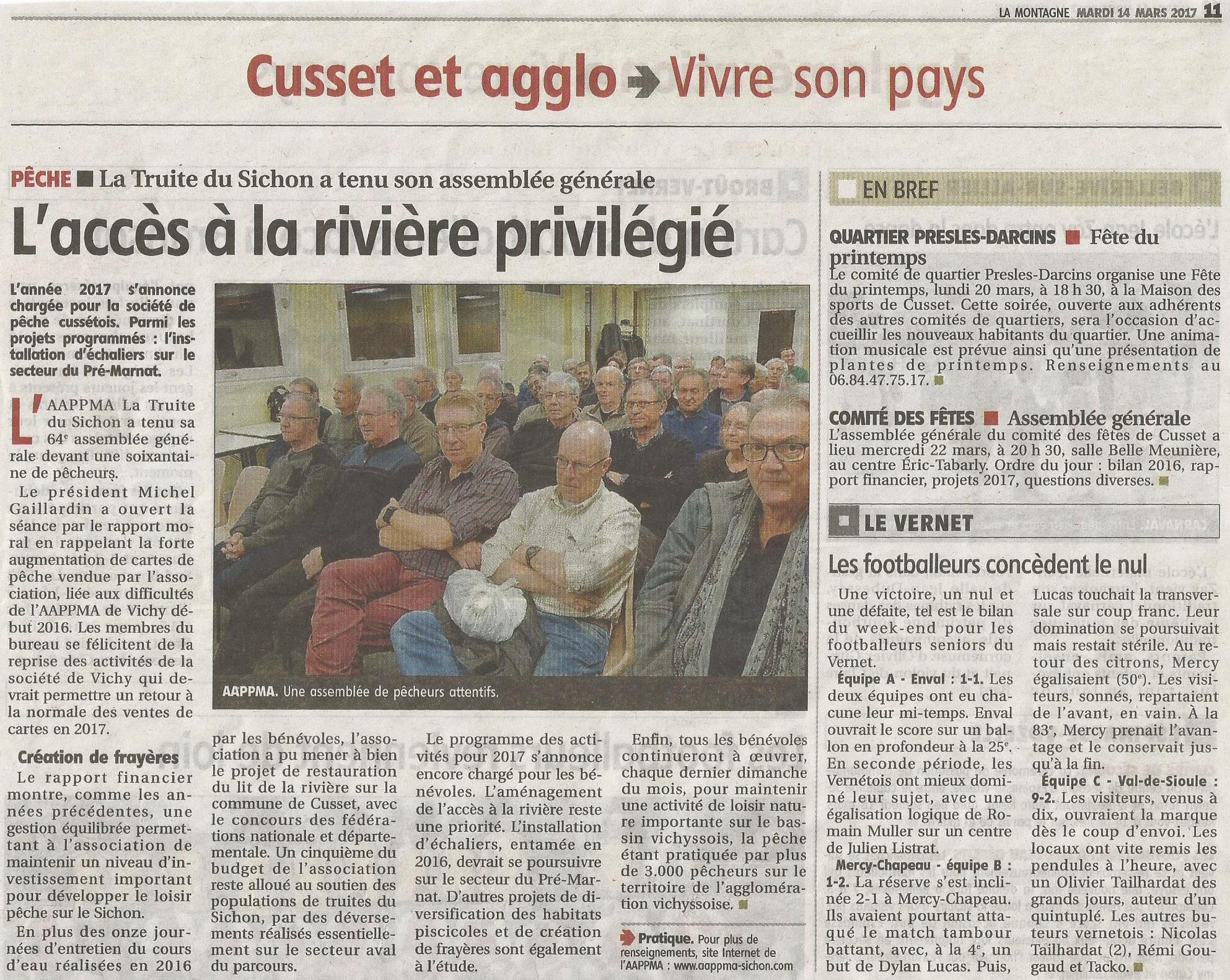 Info presse : AG AAPPMA Truite du Sichon